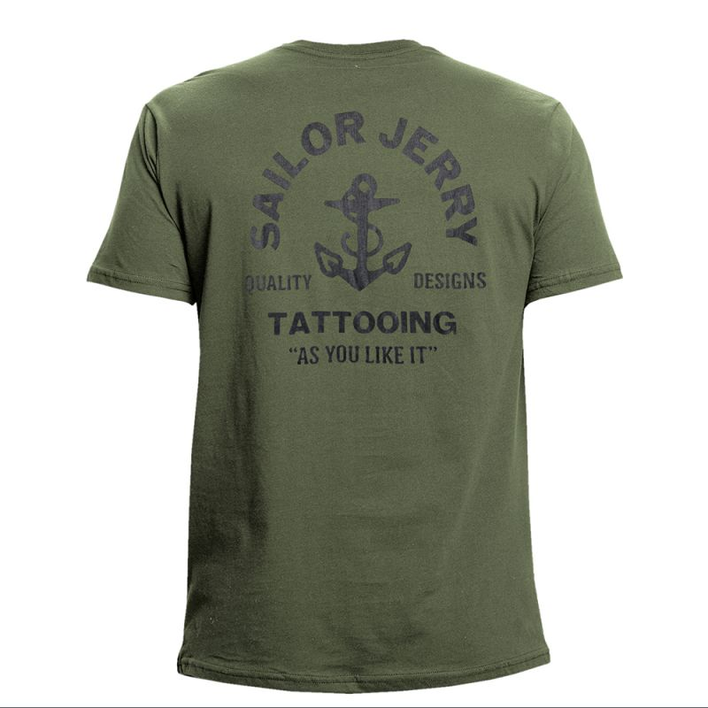 Sailor Jerry Official As You Like It T-Shirt Men's Army Green