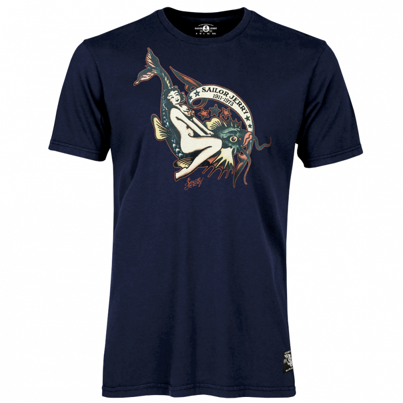 Sailor Jerry Official Off The Hook Pin Up Girl T-shirt Men's Navy
