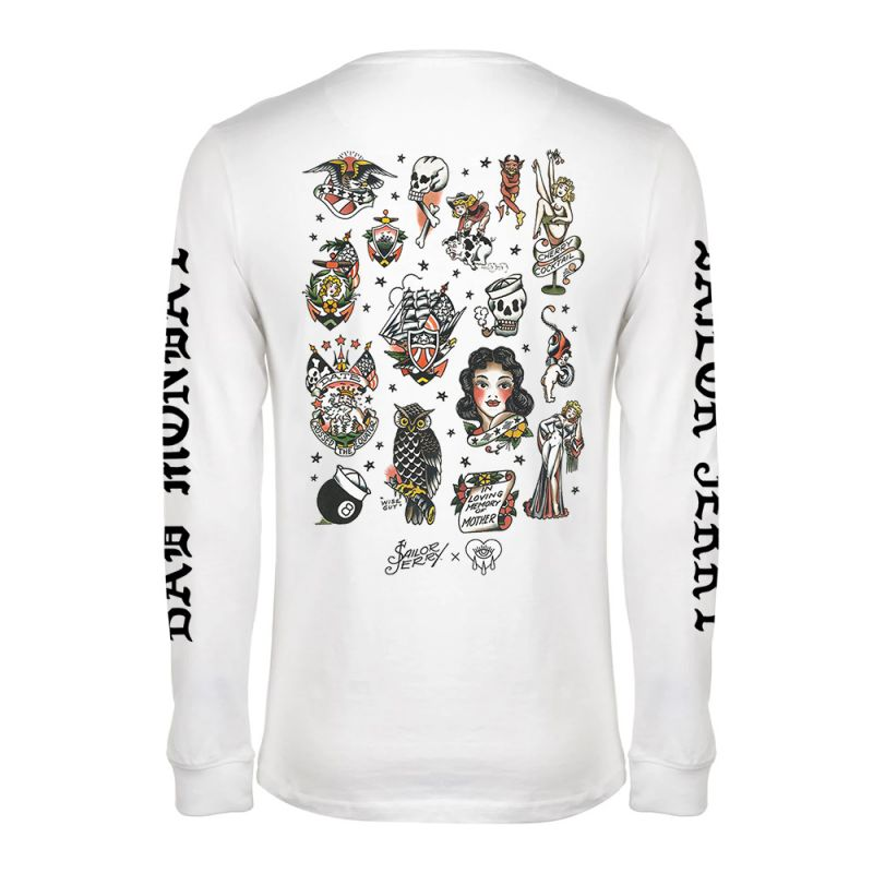 Sailor Jerry X Bad Monday Flash Sheet Long Sleeve White T-Shirt