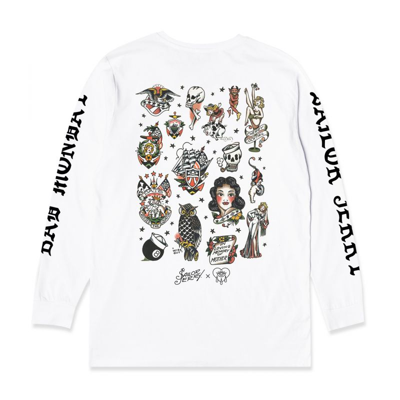 Sailor Jerry X Bad Monday Flash Sheet L/S White