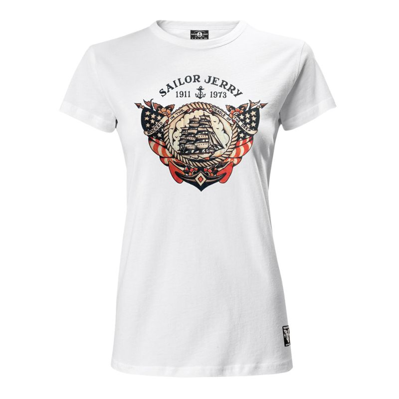 Sailor Jerry Official Cradle of the Deep T-shirt Women's White