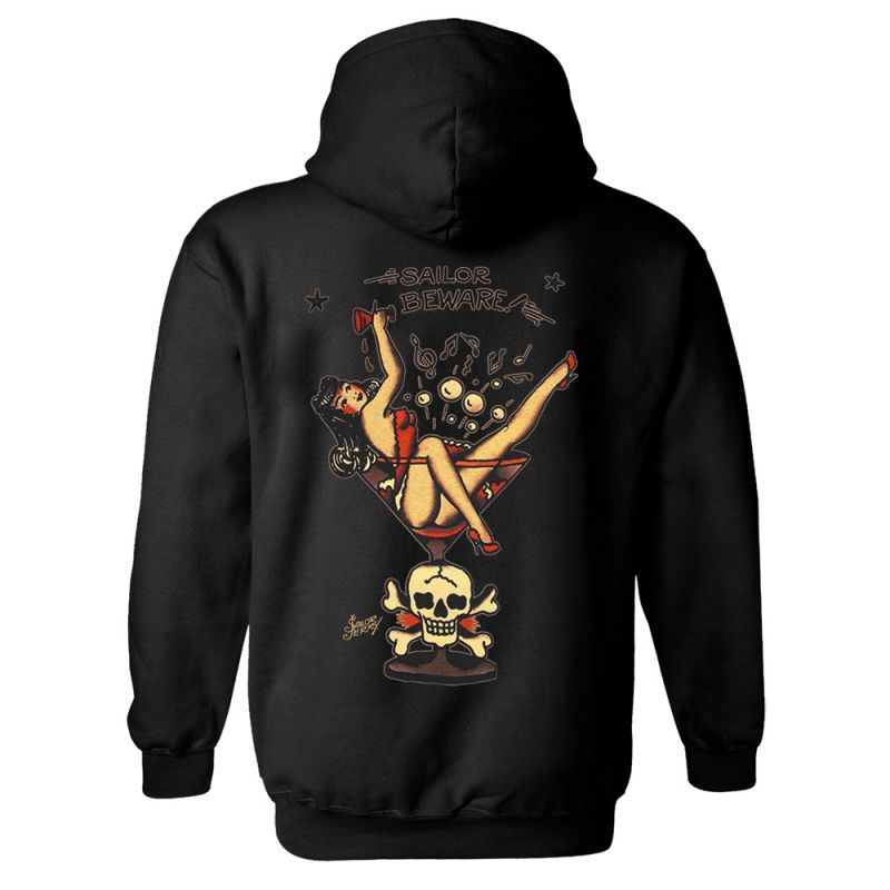 Sailor Jerry Official Martini Zip Hoodie Men's Black Back