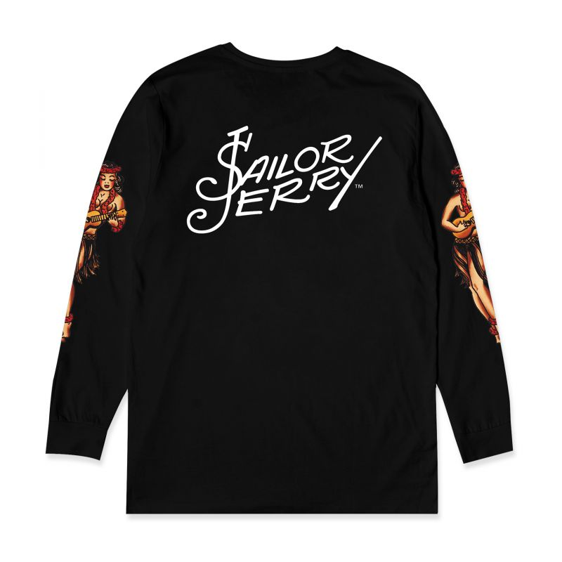 Sailor Jerry X Bad Monday Hula Girl L/S Black